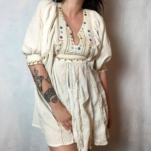 Z&L EUROPE BOHEMIAN MIRROR RAINBOW PEASANT DRESS